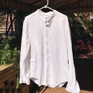 White Cotton Button down Shirt Grandad Collar